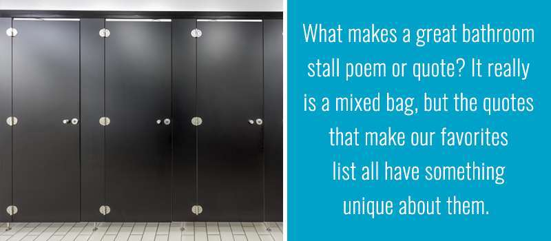 The Best of Bathroom Stall Poetry | One Point Partitions