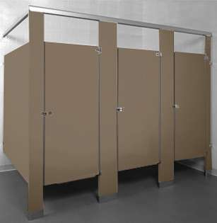 Dark Khaki Bathroom Stalls