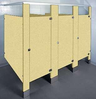 Pale Gold Bathroom Stalls