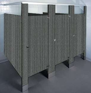 Burnt Strand Laminate Bathroom Stalls