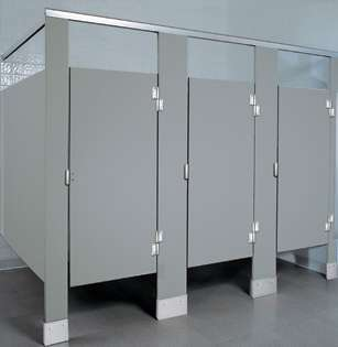 Gray Plastic Bathroom Stalls