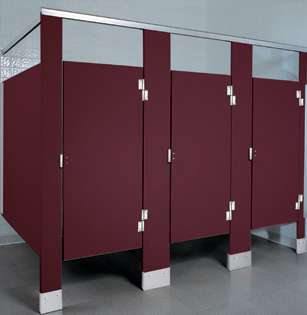 Burgundy Plastic Bathroom Stalls