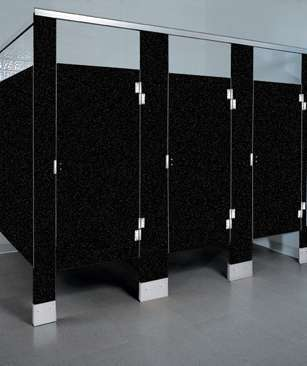 Black Confetti Plastic Bathroom Stalls
