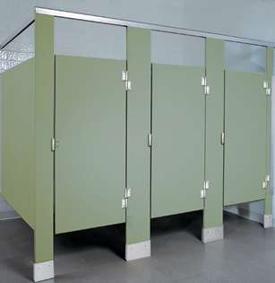 Moss Colored Plastic Bathroom Stalls