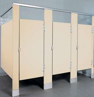 Cream Colored Bathroom Stalls