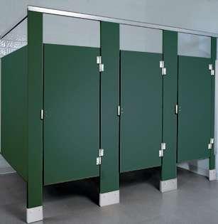 hunter green bathroom stalls