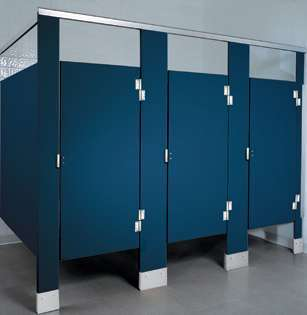Blue Plastic Bathroom Stalls