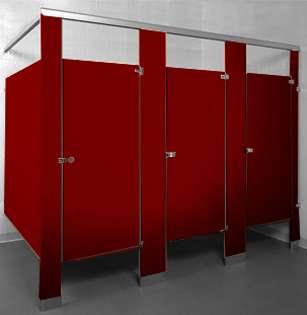 Burgundy Bathroom Stalls