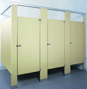 Almond Powder Coated Bathroom Stalls