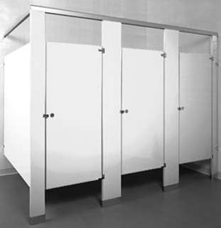 white bathroom stalls