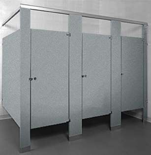 metallic silver powder coated steel toilet partition